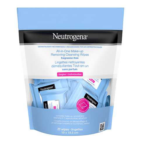 Neutrogena All-in-One Make-up Removing Cleansing Wipes Singles in Fragrance Free Package