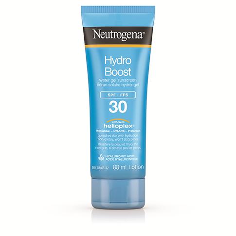 A bottle of the Neutrogena Hydro Boost Water Gel Sunscreen.