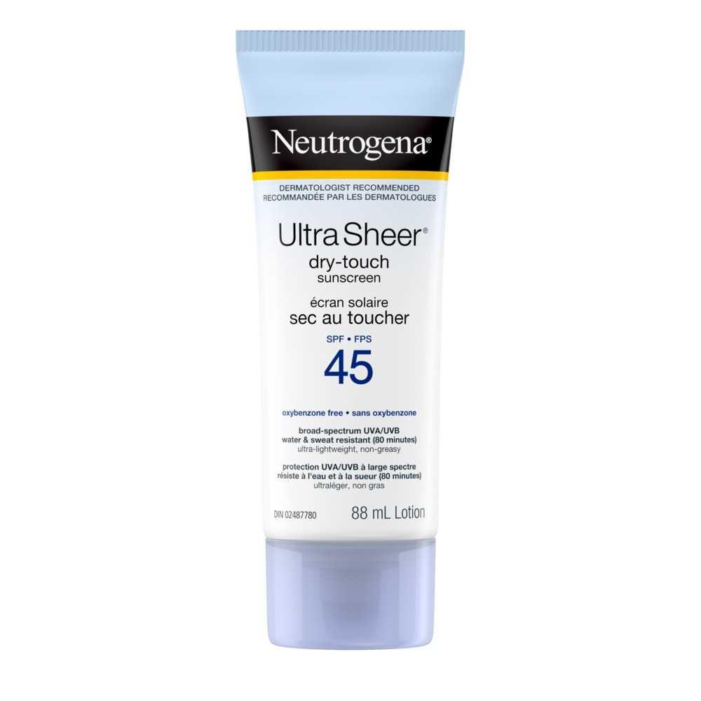 Lotion écran solaire Neutrogena Ultra Sheer Sec au toucher FPS 45, 88 ml
