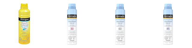 Image showcasing the recalled products called Beach Defense Sunscreen for Kids & Ultra Sheer Body Mist Sunscreen Spray of SPF 30, 45, and 60