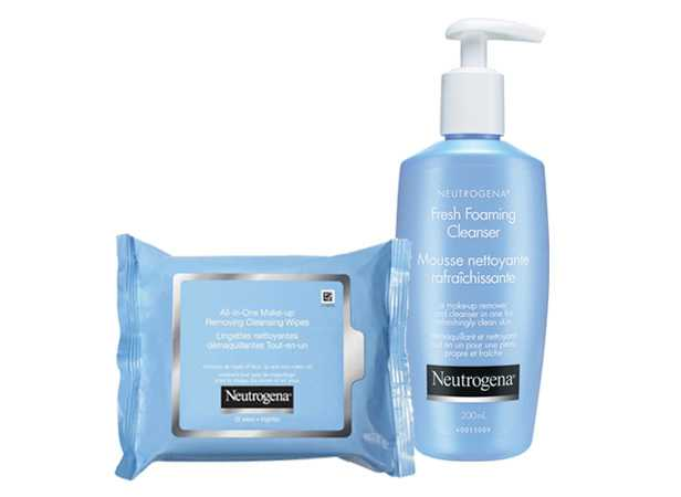 NEUTROGENA® All-in-One Make-Up Removing Cleansing Wipes and NEUTROGENA® Fresh Foaming Cleasner