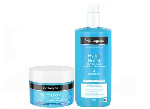 Neutrogena Hydro Boost Body Gel Pump Bottle, 453g, and Hydro Boost Whipped Body Balm, 189g