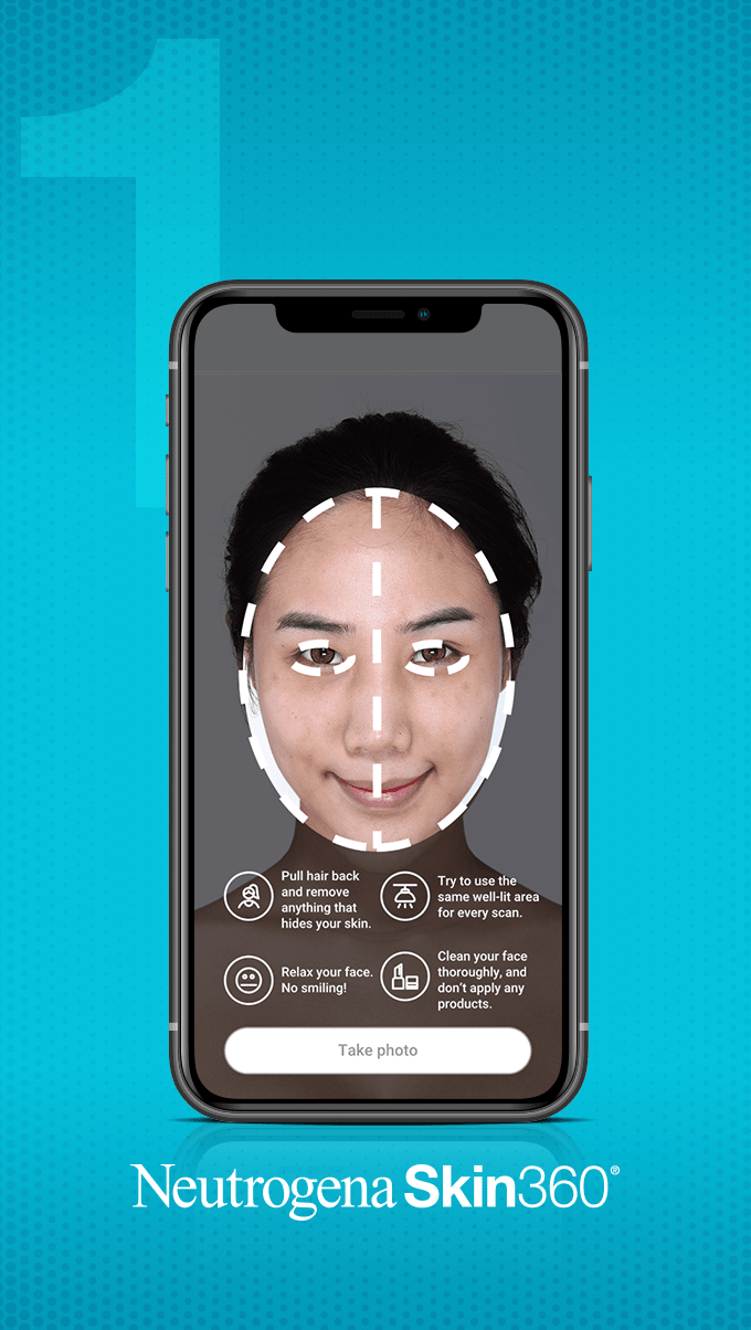 Image showing first step of scanning a selfie using the Neutrogena Skin360 Application
