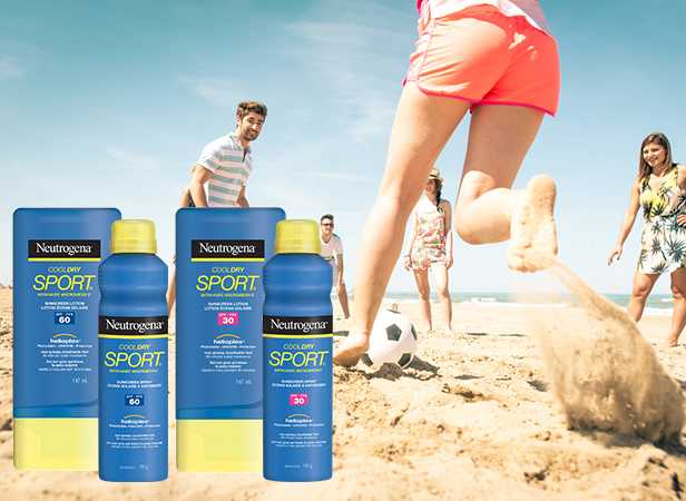 Woman playing soccer with friends on beach with NEUTROGENA® Sport Protection Sunscreen Products