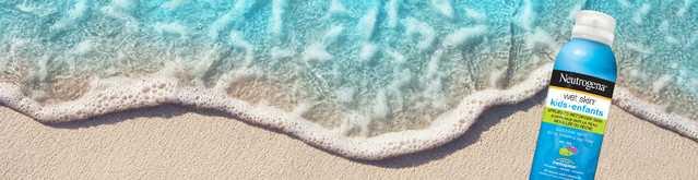 NEUTROGENA® Wet Skin® sunscreen on a beach