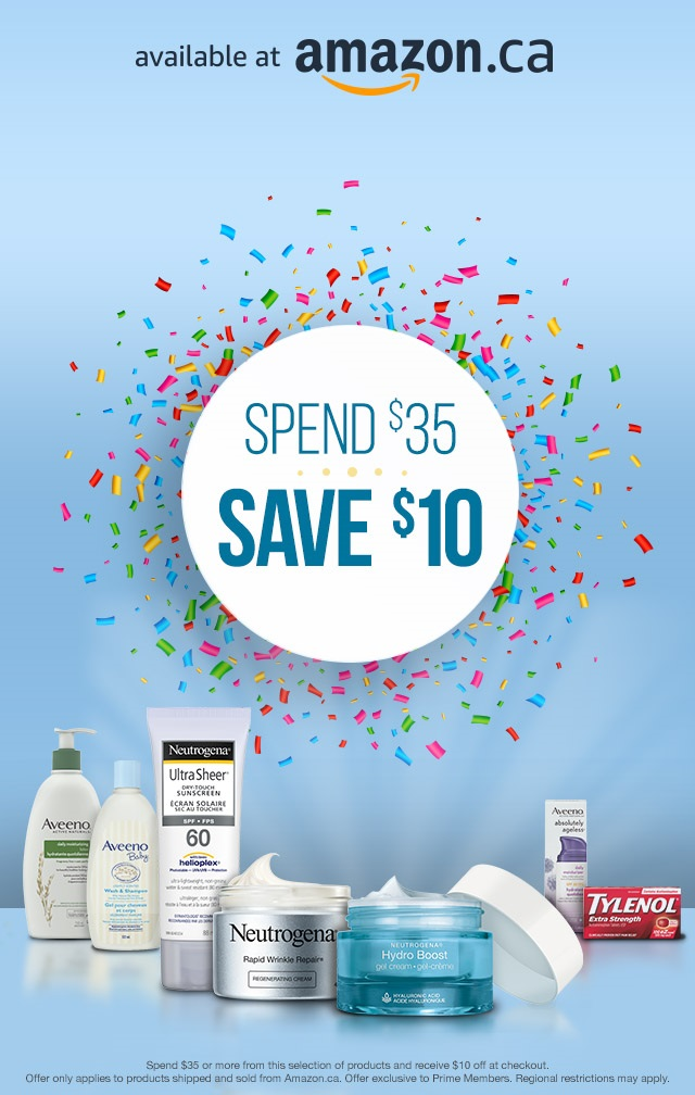 Spend $35 or more on select Johnson & Johnson products on Amazon.ca and receive $10 off at checkout. Offer only applies to products shipped and sold from Amazon.ca. Offer exclusive to Prime Members. Regional restrictions may apply.